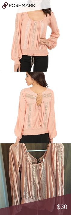 Free People Silverlake Boho Gypsy Top Size small, worn once and perfect condition!! Non smoking home. Light peach color☺️ Free People Tops