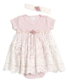 Another great find on #zulily! Blush Pink Olivia Lace Skirted Bodysuit & Headband - Infant #zulilyfinds