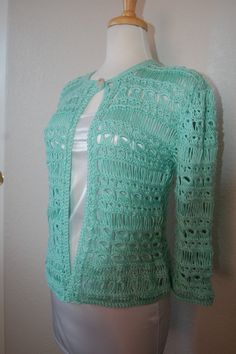 Crochet Cardigan Broomstick Lacxe in Soft Green by LoyesThread, $85.00