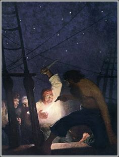 Wyeth 1882 ~ 1945 The Mysterious Island by Jules Verne Published by Charles Scribner's Sons ~ 1918 One of my absolute favorites! Jamie Wyeth, Andrew Wyeth, The Mysterious Island, Nc Wyeth, Muse Art, Pulp, Pirate Life, Pirate Art, Vintage Artwork