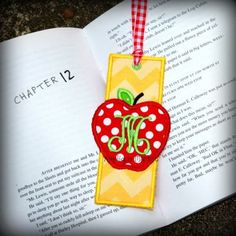 Machine Embroidery Design Applique Apple Bookmark by tmmdesigns