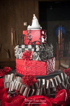 "Red and black ruffled, checkered ""I DO"" wedding cake.  www.gimmesomesugarLV.com"