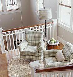 """Stair railings...and I think I love the dove grey...and the plaid chairs. Uh, just the whole """"landing"""" in general! <3<3"""