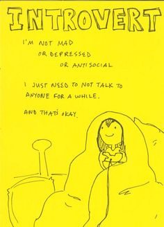 Introvert. I sometimes need to be alone so I won't explode. :)