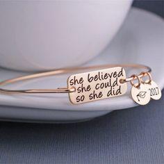 Gold She Believed She Could So She Did Bracelet, Graduation Bracelet, Inspirational Bracelet – georgie designs personalized jewelry Bernadette Soubirou, Back To University, Diy Jewelry, Jewelry Making, Handmade Jewelry, Stamped Jewelry, Glass Jewelry, Stone Jewelry, Jewelry Gifts