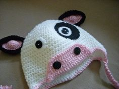Items similar to Moo Cow Hat on Etsy Crochet Animal Hats, Crochet Baby Hats, Crochet Scarves, Crochet For Kids, Knitted Hats, Crochet Crafts, Crochet Projects, Cow Appreciation Day, Cow Hat