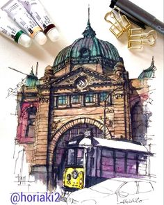 Street railway station , Melbourne , Australia @horiaki2 in Instagram #aquarell #art #painting #watercolor #watercolour #sketch #paint #drawing #sketching #sketchbook #travelbook #archisketcher #sketchaday #sketchwalker #sketchcollector #traveldiary #topcreator #usk #urbansketch #urbansketchers #скетчбук #скетч #скетчинг #pleinair #aquarelle #watercolorsketch #usk #architecture #painting #illustration