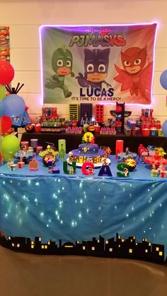 Food or gifts table Superhero Birthday Party, 4th Birthday Parties, 3rd Birthday, Pjmask Party, Party Time, Pj Mask Party Decorations, Festa Pj Masks, Birthdays, Ideas