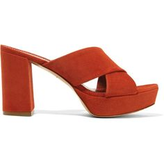 Mansur Gavriel Suede platform sandals (1 230 BGN) ❤ liked on Polyvore featuring shoes, sandals, red, red platform sandals, red suede sandals, red shoes, block heel sandals and suede sandals