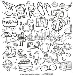 Travel Doodle Icons Hand Made