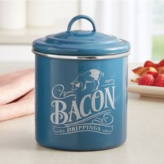 Bacon Drippings Can by Ayesha Curry, Twilight Teal Ayesha Curry, Tasty Dishes, Bacon, Jar, Canning, Households, Twilight, Pots, Kitchen