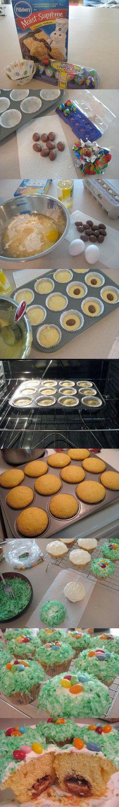 Cadbury Creme Eggs in a Cupcake!