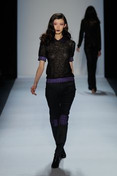 Black Knit and Houndstooth Top, Black Denim with Houndstooth Knee Patch