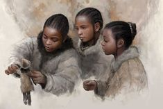 Reconstruction of European Palaeolithic girls playing with a doll as envisioned by paleoartist Tom Björklund. Prehistoric Man, Prehistoric Animals, Early Humans, Paleo Life, Figure Painting, Concept Art, Character Design, Primitive Pictures, History