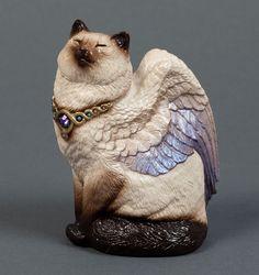 "WINDSTONE EDITIONS ""SIAMESE BIRD WINGED FLAP CAT"" FIGURINE #ebay #signed #cat"