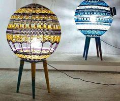 crocheted globe lamp shades