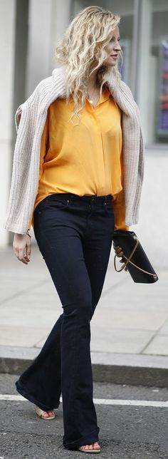 Orange Silk Button Down Outfit Idea