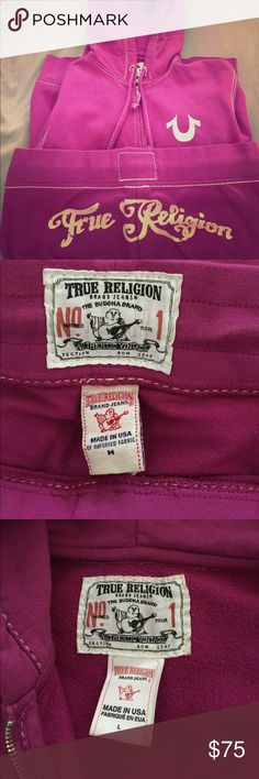 True Religion jogging suit Fuchsia pink True Religion jacket and pants. The jacket is a large and the pants are a medium. Worn a few times but in great condition. True Religion Other