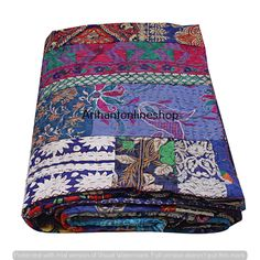 Indian handmade cotton new leaf fab india kantha quilt bedding bedspread hippie boho bohemian bed cover blanket queen size gudari throw