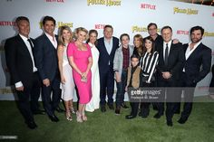 Writer/Producer Jeff Franklin, John Stamos, Lori Loughlin, Jodie Sweetin, Andrea Barber, Chief Content Officer of Netflix Ted Sarandos, Michael Campion, Candace Cameron Bure, Elias Harger, Soni Bringas, Bob Saget, Dave Coulier and Juan Pablo Di Pace attend the premiere of Netflix's 'Fuller House' at Pacific Theatres at The Grove on February 16, 2016 in Los Angeles, California.