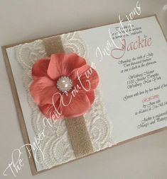 Rustic Vintage Lace Garden Invitation - Burlap, Kraft ,Cream and Vintage Coral - Bridal Shower, Wedding, Baby Shower
