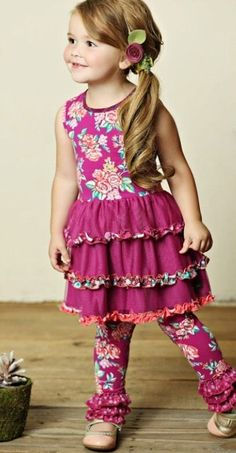 Matilda Jane Clothing Friends Forever Collection Fall 2015 Freja Dress and Waverly Leggings (Want dress Sz Little Girl Fashion, Kids Fashion, Girly Girl, My Girl, Girls Boutique, Matilda Jane, Sewing For Kids, Baby Sewing, Flower Dresses