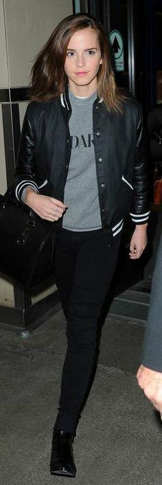 Emma Watson: Sweatshirt – Rodarte Radarte  Shoes – 3.1. Phillip Lim  Jacket – Zoe Karssen