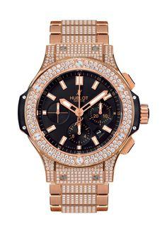 Big Bang Gold Bracelet Pavé 44mm Chronograph watch from Hublot