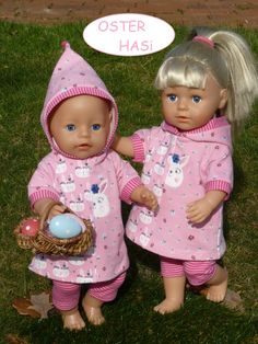 7677140b35 Puppenkleidung Gr.40-45cm 2tlg Set z.B. für Babyborn/- Sister 43cm Hoodie  Kleid rosa Hasen Ostern Kapuze Hose Radler geringelt pink