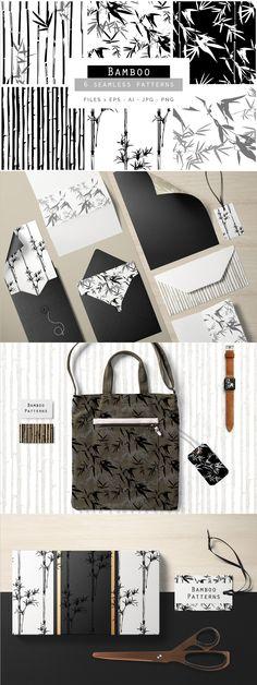Set of #Bamboo seamless #Patterns
