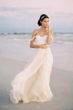 66c5bccabd2 Chiffon Beach Wedding Dress with Lace Bodice