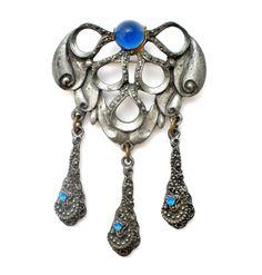Pot Metal Sapphire Blue Rhinestone Brooch Art Nouveau