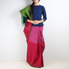 Love for the Loom / Magenta color block Mangalgiri cotton saree