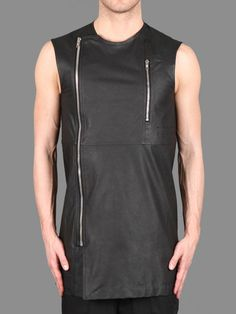 225d65aa621cd Rick Owens vicious biker sleeveless shirt with off centre front zip  fastening and perforated zipped pocket