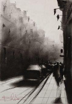 Paris quick sketch in charcoal