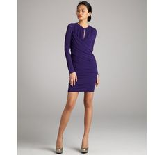 JILL Jill Stuart purple silk crepe ruched long sleeve dress