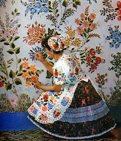 Floral on Floral! Folk Costume & Embroidery: Costume of Kalocsa, Bács-Kiskun county, Hungary Costumes Around The World, Art Populaire, Folk Clothing, Hungarian Embroidery, Folk Dance, Folk Costume, My Heritage, Textile Patterns, Textiles
