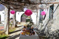 Pompones papel de seda mesa decorada