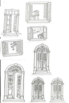 Cyprus architecture, doors and windows house sketch, house drawing, doodle drawings, easy Doodle Drawings, Doodle Art, Easy Drawings, House Sketch, House Drawing, Window Sketch, Buch Design, Urban Sketching, Art Sketchbook