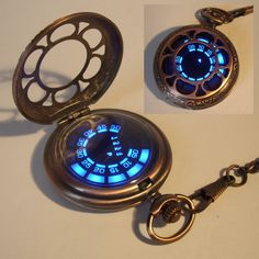 Rose copper pocket watch with a futuristic LED display. Rose copper pocket watch with a futuristic LED display. I love this one because it looks as good closed as ope Mode Steampunk, Steampunk Fashion, Digital Pocket Watch, Cool Watches, Watches For Men, Steampunk Accessories, Jewelry Accessories, Magical Jewelry, Futuristic Technology