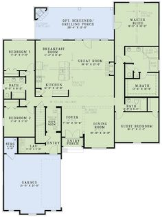 open floor plan: Beautiful open floor plan, love the separate master from kids. Would change dining to office. Extend porch to end of the house, and bay window in master. European Plan, European Style Homes, European House, The Plan, How To Plan, Plan Plan, Dream House Plans, House Floor Plans, Open Floor Plans