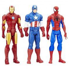 Coleção Bonecos da Marvel - Avengers Titan Hero - 3 heróis: Capitão América, Homem Aranha e Homem de Ferro - 30cm  Você e seus filhos vão adorar brincar e colecionar os Bonecos da Mattel, réplicas de seus heróis favoritos! Vocês vão criar suas próprias aventuras!
