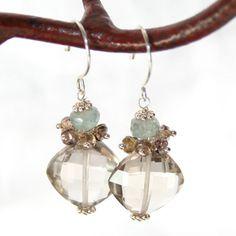 Earrings Champagne Quartz Brown Zircon Moss Aquamarine Sterling Silver Wire Wrapped Dangle OOAK Handmade