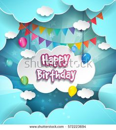 Happy Birthday vector design for greeting cards with balloon and gift box, isolated with clouds on blue background