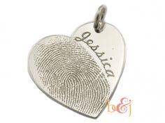 Sterling Silver Fingerprint Heart Pendant - by Brent & Jess Custom Handmade Fingerprint Wedding Rings and Jewelry