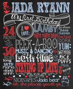 Dr. Suess themed birthday party 1st birthday chalkboard sign and/or birthday party invitation