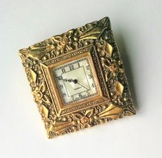 Square Brooch Watch Ornate Gold Tone Frame MOP Face Quartz Movement Mid Century Vintage Jewelry Jewellery Accessories Gift Guide Women by YoursOccasionally on Etsy