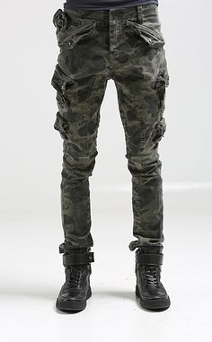 Cargo Pocket Jeans for Men | Nyfashioncity Mens mulit pockets cargo pants for men military camo ...