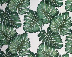 Ohana Cream Tropical Hawaiian Monstera Leaves on a cotton upholstery twill fabric.   See more fabrics at: BarkclothHawaii.com