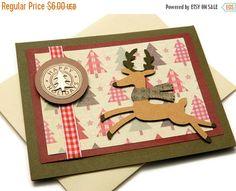 CIJ Sale  Handmade Christmas Card  Reindeer by DesignsByCnC